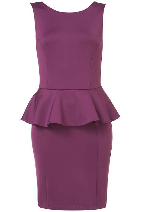 Alona Dress Lavender Flh topshop scuba peplum pencil dress in purple lyst
