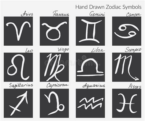 collection  zodiac signs hand drawn zodiac symbol icons