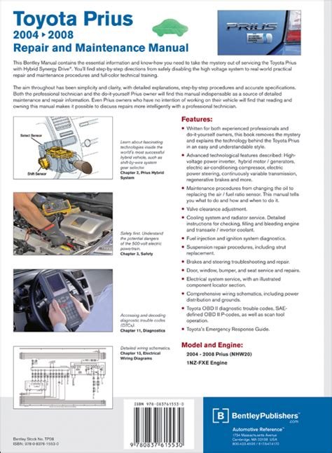 back cover toyota prius repair and maintenance manual 2004 2008 bentley publishers repair