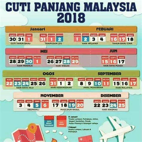 Kalendar 2018 Cuti Penggal Kalendar Cuti Umum Dan Cuti Sekolah Malaysia 2018