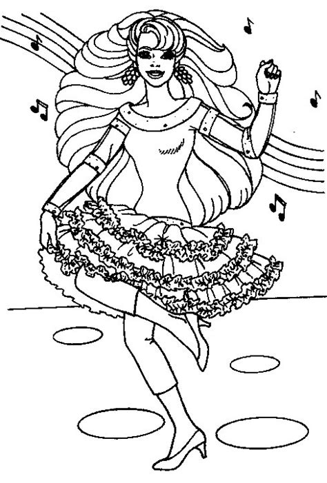 barbie dancing coloring pages dancing and singing barbie coloring pages