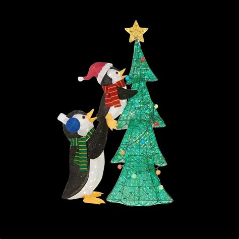 home accents holiday   led lighted tinsel penguins