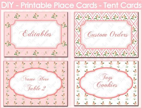 Free Wedding Place Card Template Lcl Paper by Digital Editable Place Cards Pink Blossompaperart