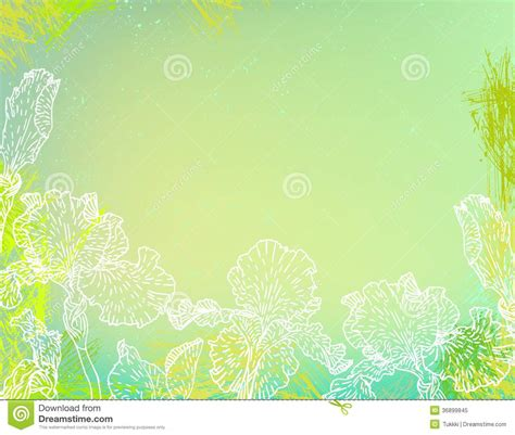 green card template paint shop pro card with iris flowers on green watercolour royalty free