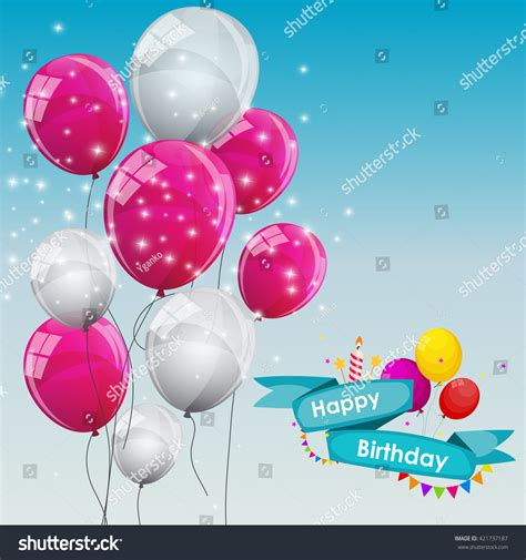 balloon birthday card template happy birthday card template balloons vector stock vector
