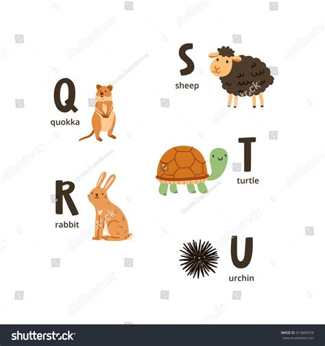 animal alphabet stock vector animal alphabet letters q u vector stock vector 413843578