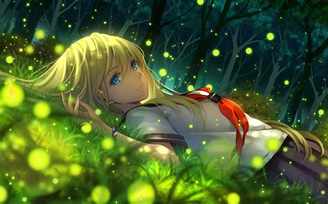 anime girl with fireflies anime phone wallpapers download free pixelstalk net