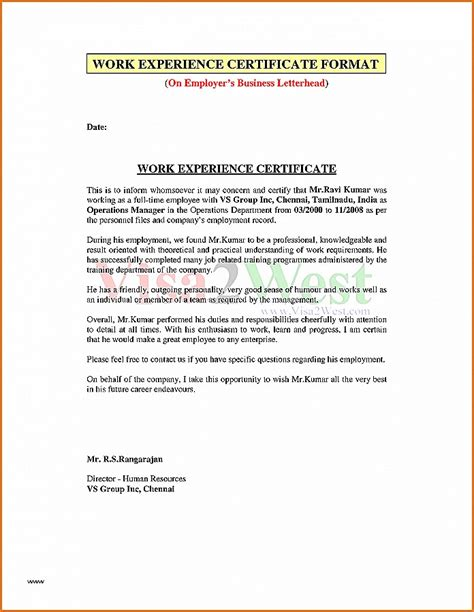 Experience Letter Business Development Manager business letter best of experience letter for business