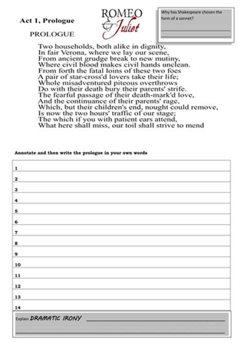 themes of romeo and juliet worksheet lesley1264 s shop teaching resources tes
