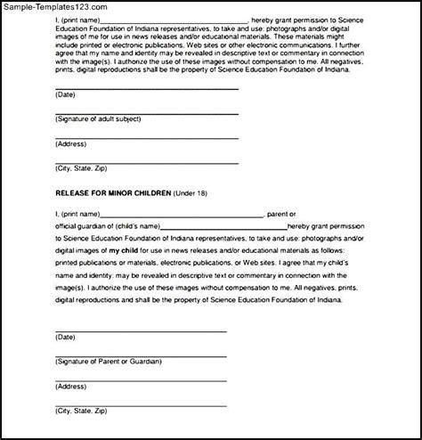 standard print release form sle templates