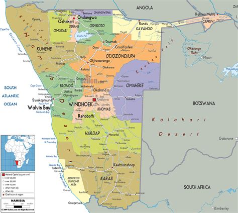 printable road map of namibia detailed administrative and political map of namibia