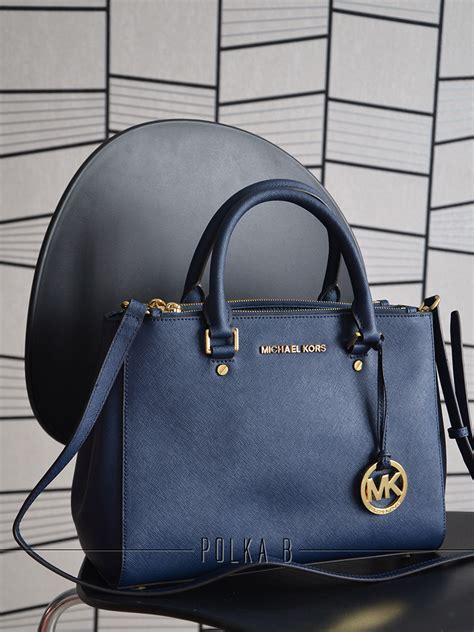 Michael Kors Sutton Medium Electric Blue And Navy michael kors medium sutton satchel navy polka b authentic luxury you can afford