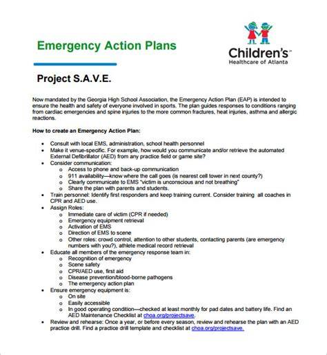 Emergency Plan Template by Emergency Plan Template Cyberuse