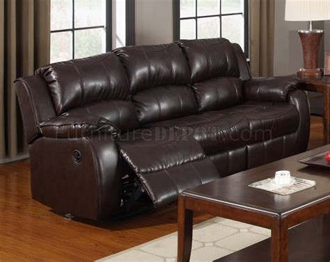 dark brown leather reclining sofa 7262 reclining sofa dark brown bonded leather w optional item