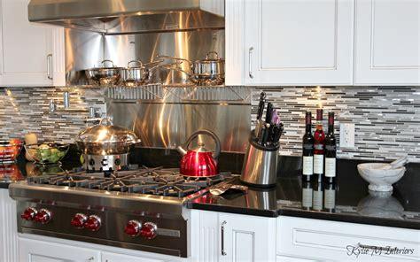 mosaic tile backsplash white cabinets beautiful chefs kitchen with white glazed cabinets black