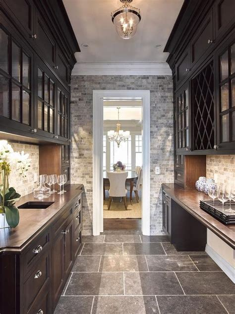 Black Butler Pantry with Zinc Countertops   Transitional