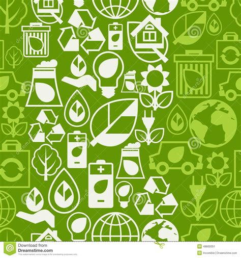 Pattern Of Energy Flow In The Environment | ecology seamless pattern with environment icons vector