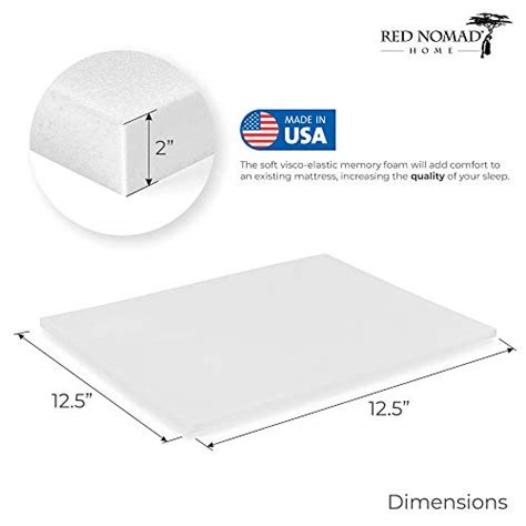 red nomad twin size   thick ultra premium visco elastic memory foam mattress pad bed