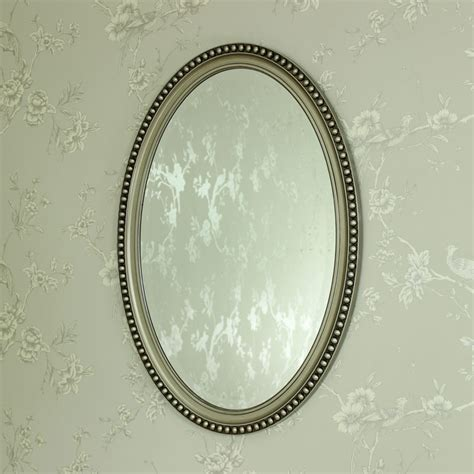 silver oval mirrors bathroom chagne oval wall mirror shabby vintage chic bathroom