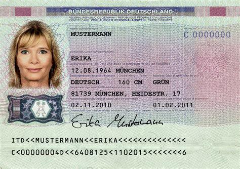 Englischer Lebenslauf Fur Deutschland File Muster Des Vorlaeufigen Personalausweises Vs Jpg