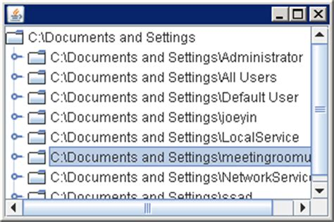 jtree exle in java swing jtree displaying the file system hierarchy using the