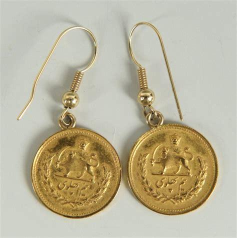 lot 145 pr shah of iran gold coin earrings