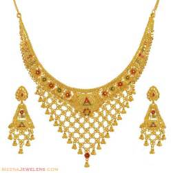 set of gold 22k gold tricolor necklace set stgd10588 22k gold necklace set is exclusively crafted