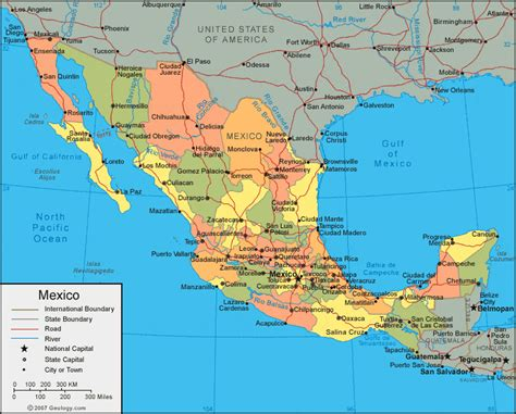 map of mexico and america mexico map and satellite image