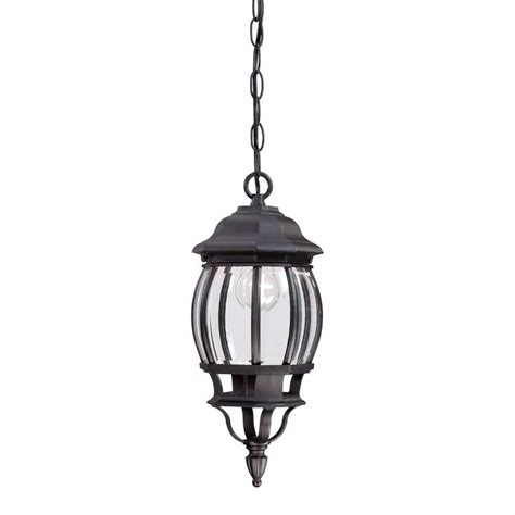 Hton Bay Outdoor Lighting Hton Bay 1 Light Black Outdoor Hanging Lantern Hb7030 05 The Home Depot