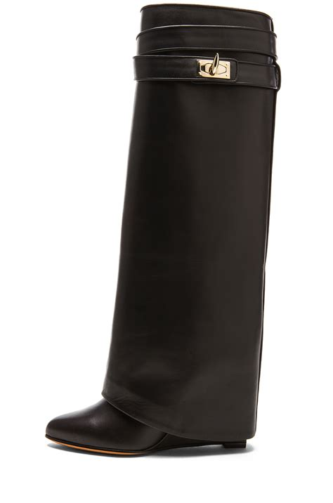 givenchy shark lock leather pant boots in black lyst