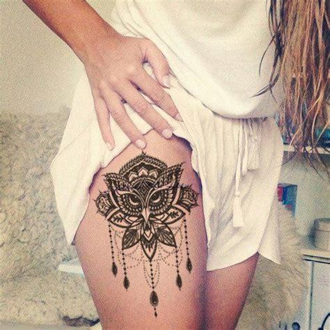 owl tattoo knee lotus thigh tattoo ideas owl chandelier leg women tat
