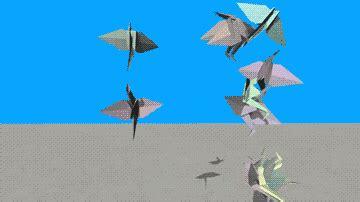 Origami Moving Crane - moving origami crane experiment