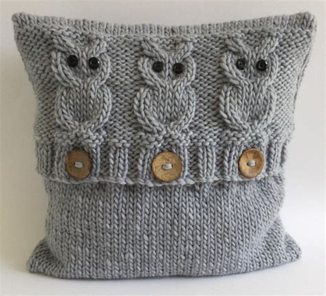 knitted owl cushion 3 wise owls cushion cover knitting pattern by the lonely sea