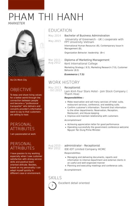 Resume Samples Project Coordinator by R 233 Ceptionniste Exemple De Cv Base De Donn 233 Es Des Cv De