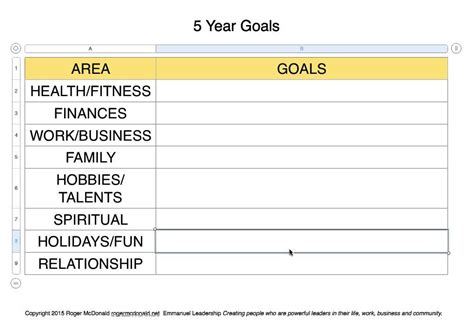 5 year goal plan template 5 year goals template with categories and blank template