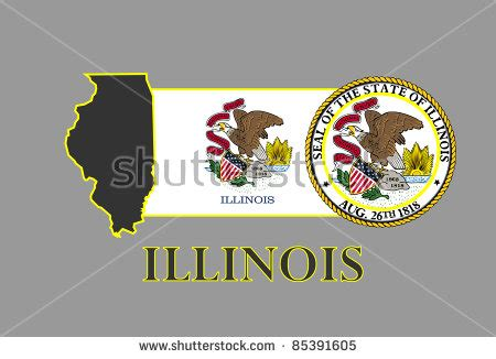 Illinois Search By Name Illinois State Map Flag Seal And Name Stock Vector Illustration 85391605