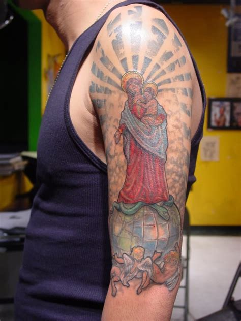 st mary tattoo on half sleeve