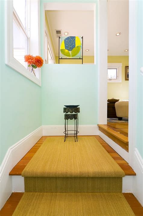 mint green wall paint entry contemporary with baseboard carpet runner ceiling beeyoutifullife