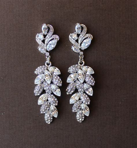 Wedding Chandelier Earrings Bridal Chandelier Earrings Leaf Earrings Bridal