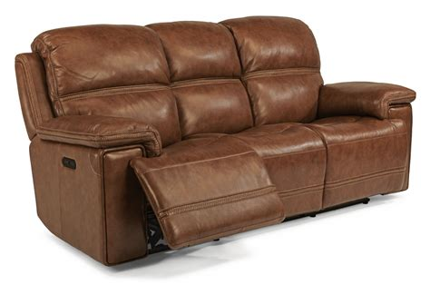 leather sofa with power recliners flexsteel fenwick leather power reclining sofa w headrests