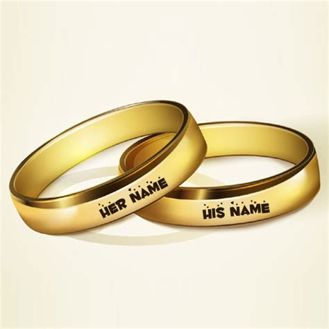 Write Couple Name on Golden Rings For Wedding