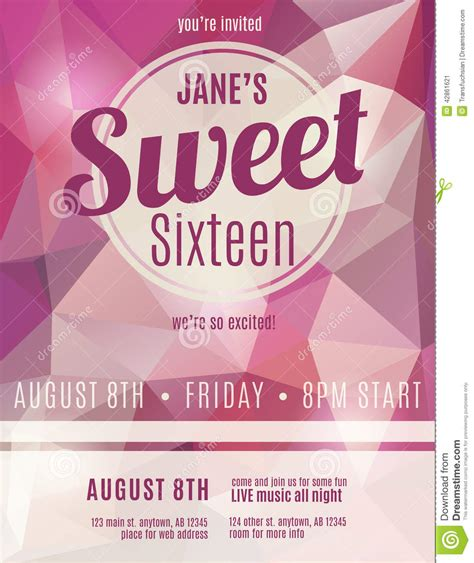 birthday invitation flyer template invitation flyer for sweet sixteen stock vector
