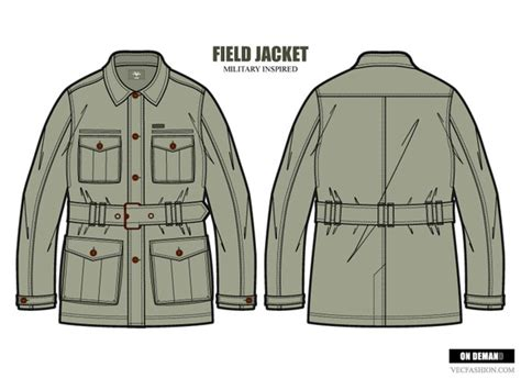 desain vektor jaket stock graphic men field jacket fashion template