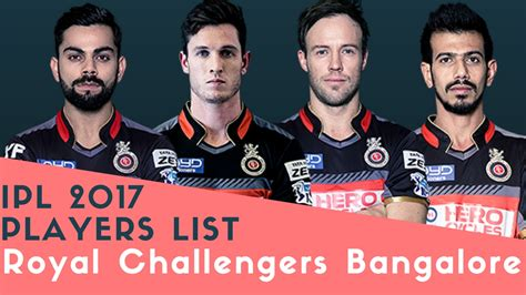 team of rcb in 2017 ipl list ipl 2017 players list royal challengers bangalore rcb