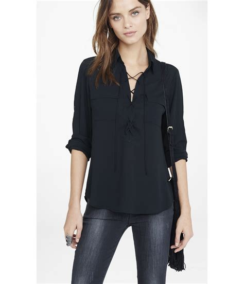 Lace Up Back Blouse lyst express lace up sleeve blouse in black