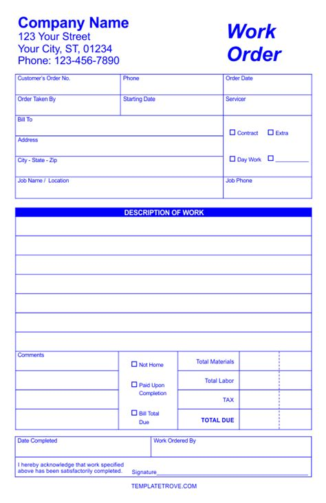 workorder template work order forms