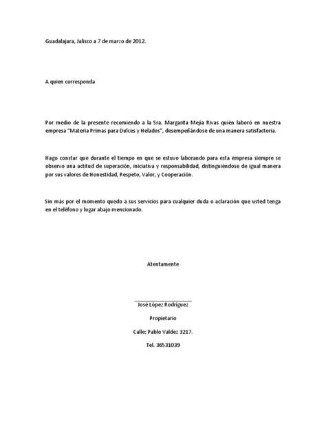carta de recomendacion laboral destinatario carta de recomendacion laboral