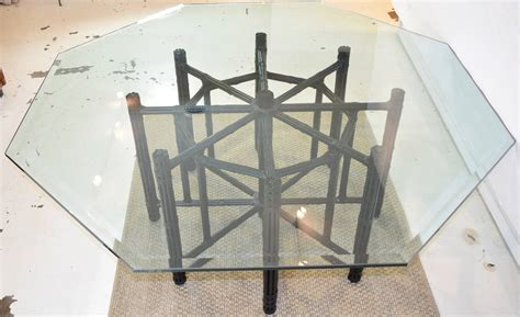 Octagon Glass Patio Table by Mcguire Bamboo Table With Octagon Glass Top At 1stdibs