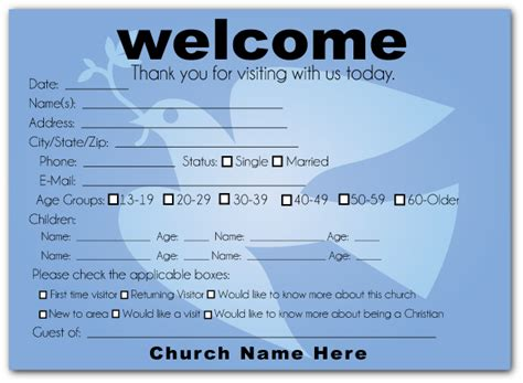 Visitor Card Church Template by Church Welcome Cards Search Pew Cards