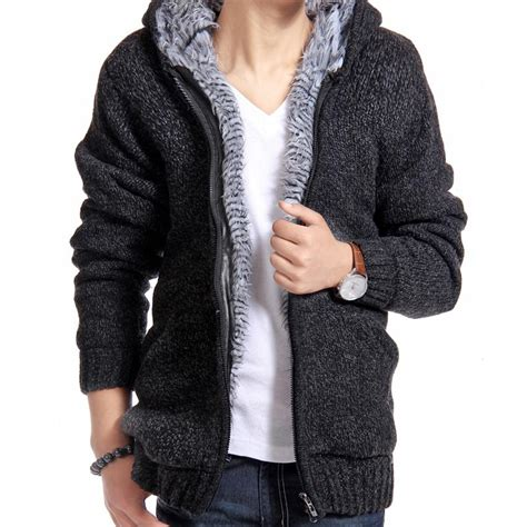 Sweater Blazer Cardigan Cotton Rajut 11 jacket thick velvet cotton hooded fur jacket mens winter padded knitted casual sweater